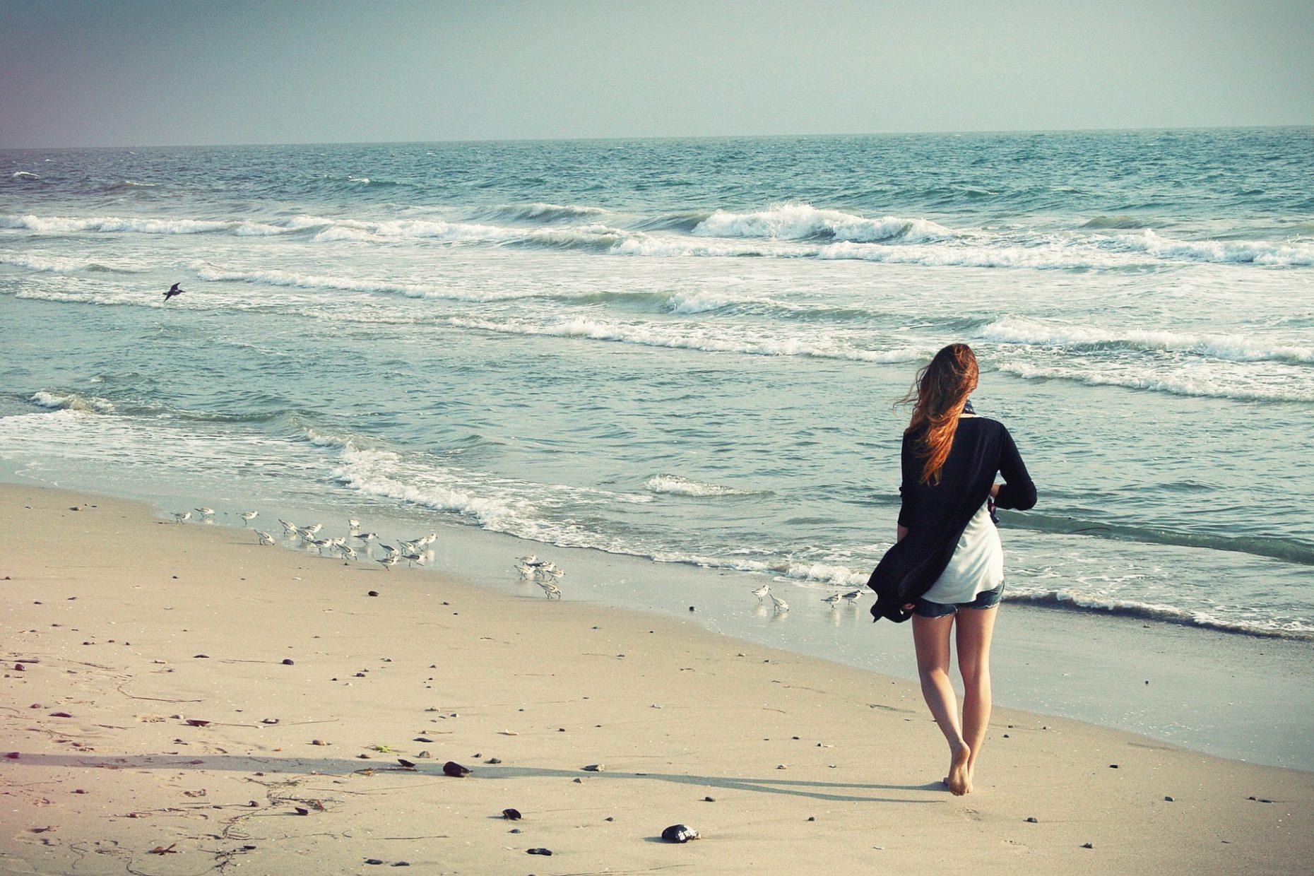 Barefoot walking beach