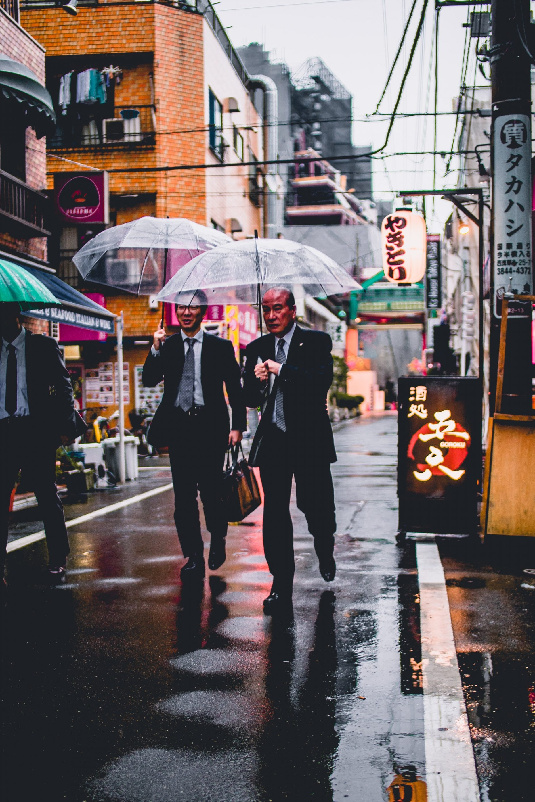 Businessmen walking meeting